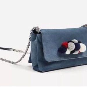 Zara Pompom Blue Suede Mini Crossbody
